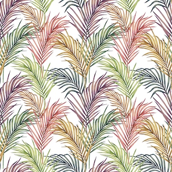Watercolor painting colorful palm leaves seamless pattern.