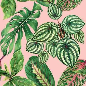 Watercolor painting colorful tropical leaves seamless background.