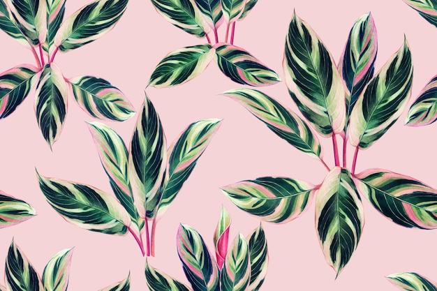 Акварельная живопись красочные тропические листья бесшовный фон фон.
