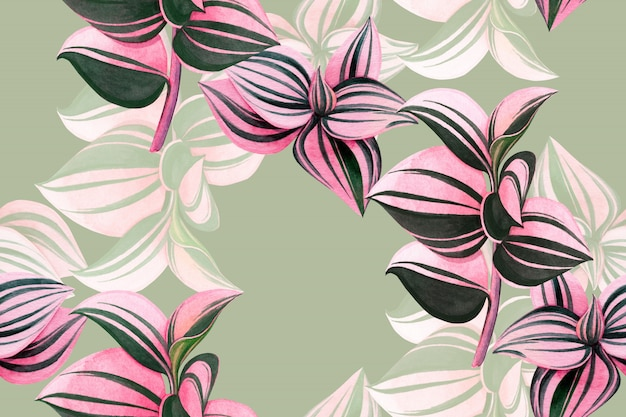 Watercolor painting colorful tropical leaves seamless pattern background.