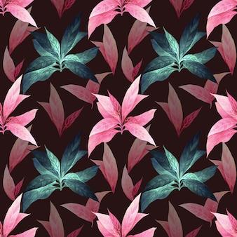 水彩画のカラフルな熱帯の葉のシームレスなパターン