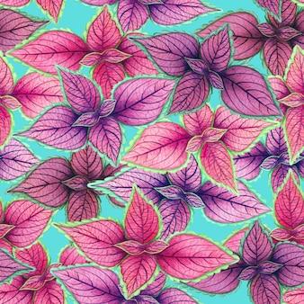 カラフルな熱帯の葉のシームレスなパターンの水彩画。