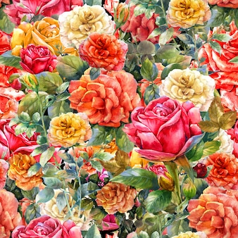 Watercolor painting of flowers rose pattern
