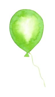 水彩画の緑の風船の落書き。グリーティングカード、パーティの招待状、誕生日カードのお祝いの背景。白い背景で隔離。手で描いた。