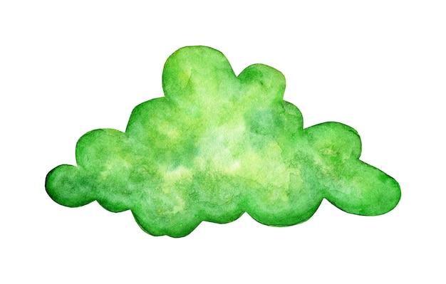 수채화 그림 녹색 구름 낙서입니다. 환상의 나라, 멋진 날씨, 마법의 세계. 디자인을 위한 어린이 인쇄. 무성한, 클럽 같은 구름. 흰색 배경에 고립. 손으로 그린.