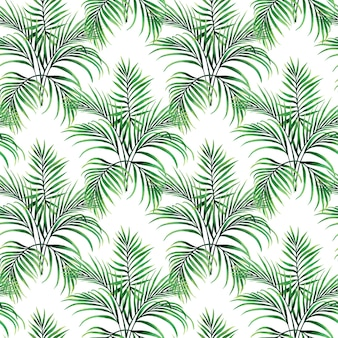 Watercolor painting green palm leaves seamless pattern.