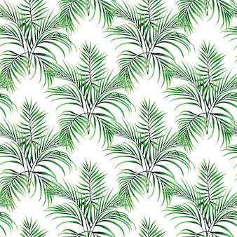 水彩画の緑のヤシはシームレスなパターンを残します。