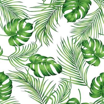 Акварельная живопись зеленые тропические пальмовые листья бесшовный фон фон.