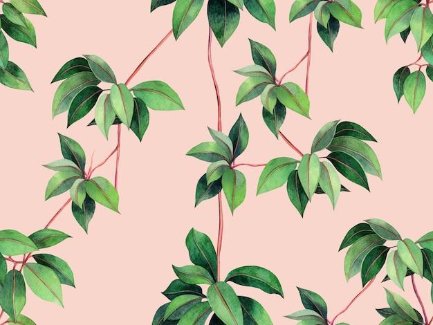 수채화 그림 아이비 그린은 완벽 한 패턴 배경을 둡니다.