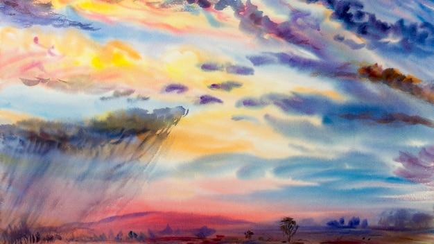 雨雲の牧草地、山のトウモロコシ畑と季節の自然の空の背景のカラフルな水彩画の風景。