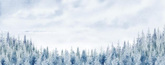 Акварельная живопись пейзажная панорама соснового горного леса, синий фон с серым, зимним или весенним лесом, природа с хвойными деревьями, лесной массив путешествий и иллюстрация сцены естественная на открытом воздухе.