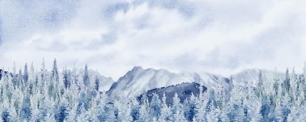 Акварель пейзаж панорама сосновый горный лес