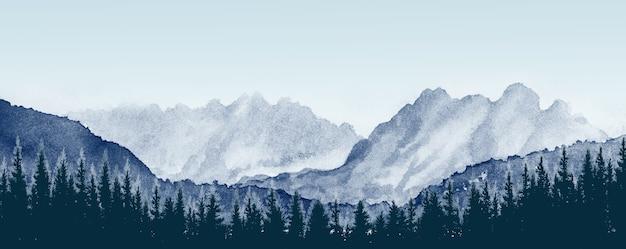 Картина акварелью пейзажная панорама сосны в лесу с горой