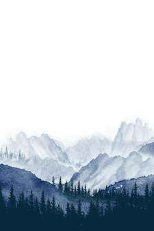 Watercolor painting landscape panorama of pine mountain forest background blue with gray