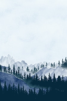 Watercolor painting landscape panorama of pine mountain forest background