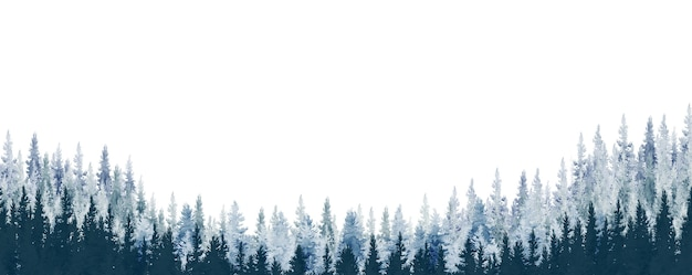 Watercolor painting landscape panorama of pine mountain forest white background blue with gray, winter or spring woods, nature with coniferous trees, woodland and scene illustration natural outdoor.