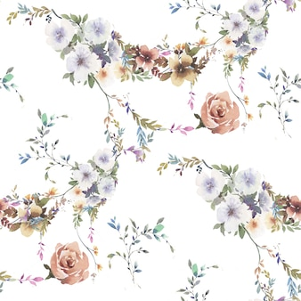 Watercolor painting of leaf and flowers seamless pattern on white