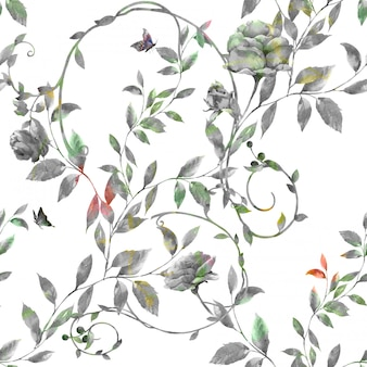 Watercolor painting of leaf and flowers, seamless pattern