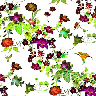 Watercolor painting of leaf and flowers seamless pattern on