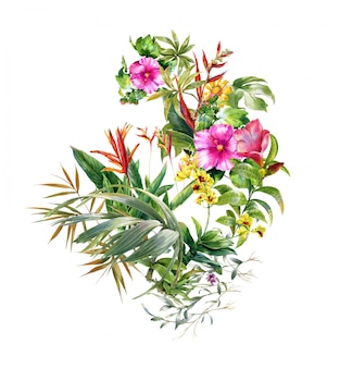 Watercolor painting of leaves and flower on white