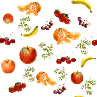 Watercolor painting many fruits