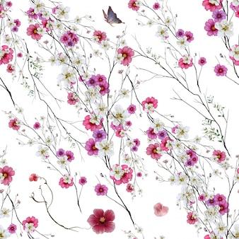 잎과 흰색 꽃의 수채화 그림