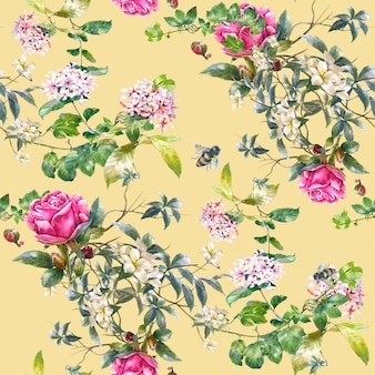 葉と花の水彩画、クリームイエローのシームレスパターン