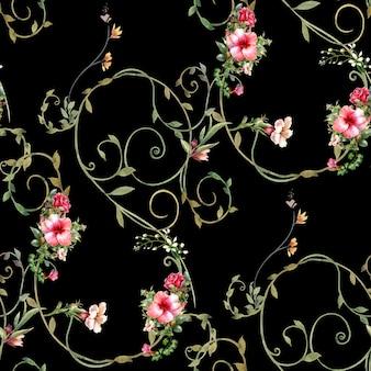 葉と花の水彩画、暗い背景にシームレスパターン