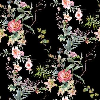 葉と花の水彩画、暗い背景のシームレスなパターン