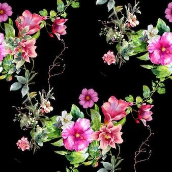 暗闇の中で葉と花のシームレスなパターンの水彩画
