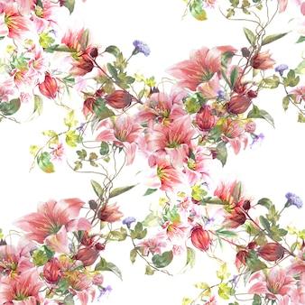 Акварельная живопись из листьев и цветов, бесшовный узор на белом фоне