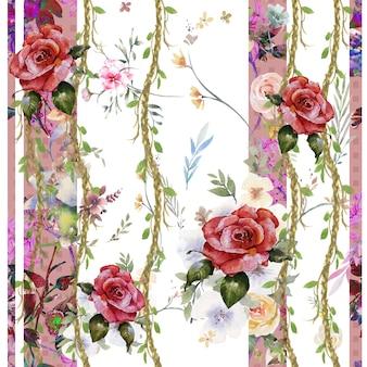 葉と花の水彩画、白い背景の上のシームレスなパターン