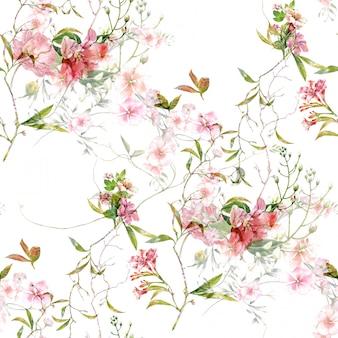 葉と花の水彩画、白のシームレスパターン