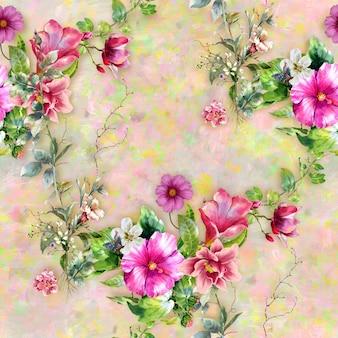 葉と花のシームレスパターンの水彩画