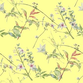 葉と花の水彩画、シームレスなパターン