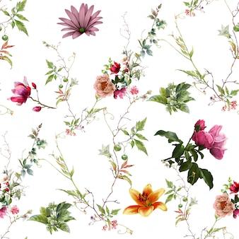 잎과 꽃의 수채화 그림