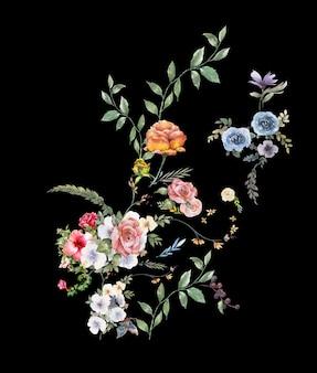 葉と花、暗い背景上の水彩画