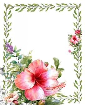 葉と白い背景の上の花の水彩画