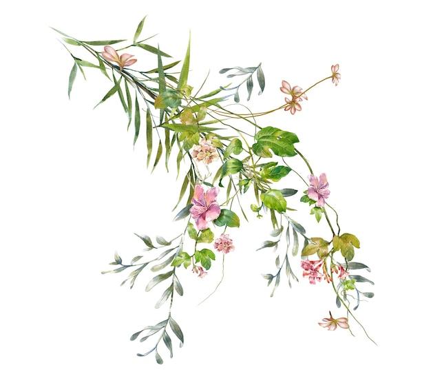 흰색 바탕에 나뭇잎과 꽃의 수채화 그림