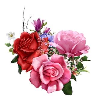 葉と花の水彩画、白い背景の上のバラ