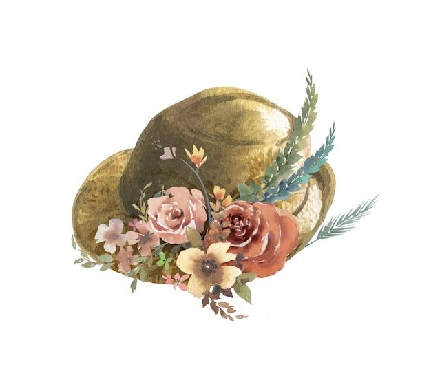 葉と帽子と花の水彩画