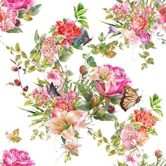 白い背景の上の葉と花のシームレス パターンの水彩画