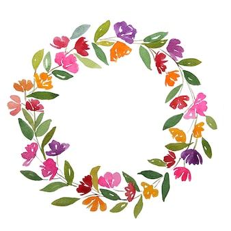 オレンジ赤ピンク紫紫の花の水彩画は、クリッピングパスとコピースペースの花輪をサークルします。緑の葉で飾られた花輪。
