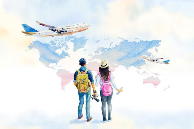 Акварельная живопись всемирного дня туризма