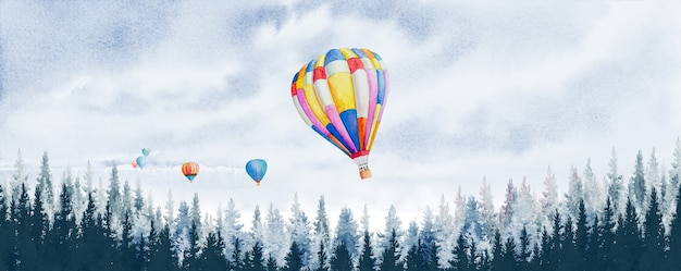 Watercolor painting panoramic scenery with hot air balloons and pine trees in the forest