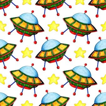 비행 접시와 별의 수채화 그림 패턴 손으로 그린 연필 공간 배경
