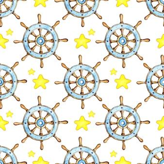 빈티지 나무 배 스티어링 휠과 별 바다 항해 항해의 수채화 그림 패턴