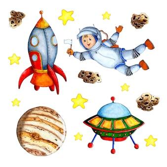 아이들을위한 코스모스 손으로 그린 배경의 수채화 그림 세트 만화 로켓 행성 별