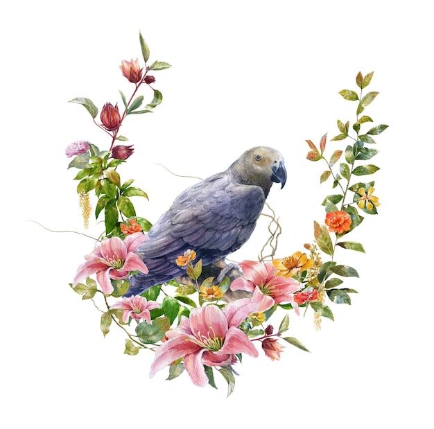 白い背景の上の鳥と花の水彩画