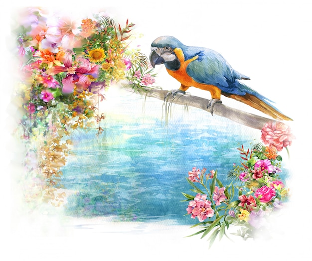 Watercolor painting with bird and flowers, on white